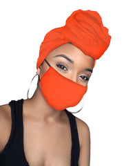 Orange Jersey Knit Stretched Fabric Headwrap and Mask