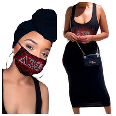 Delta Headwrap, Mask and Dress combo