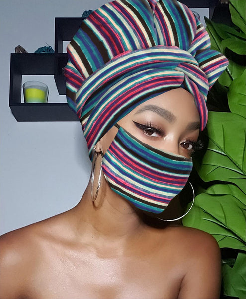 Colored Striped Slip On Satin Lined Headwrap