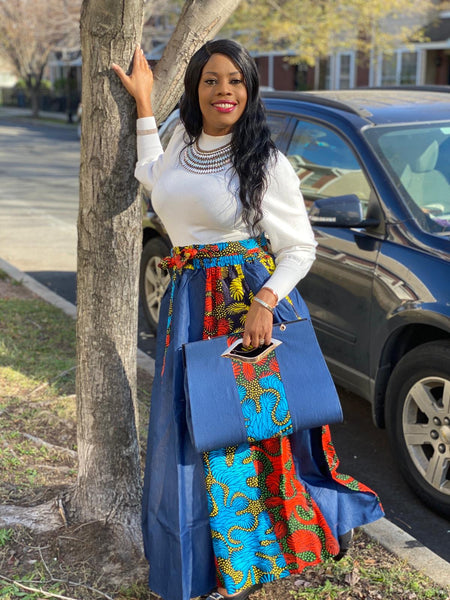 Lia Print Headwrap, Maxi Skirt & bag set