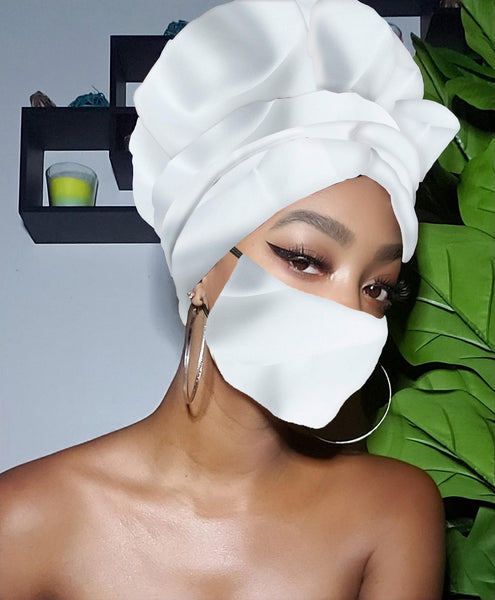 Pearl White Slip On Satin Lined Headwrap and Mask