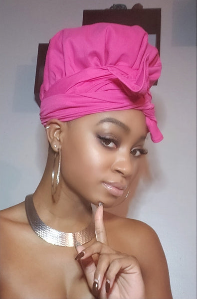 Pink Jersey Knit Stretched Fabric Slip On Headwrap