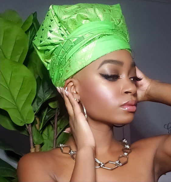 Angela Green Slip On Satin Lined Headwrap