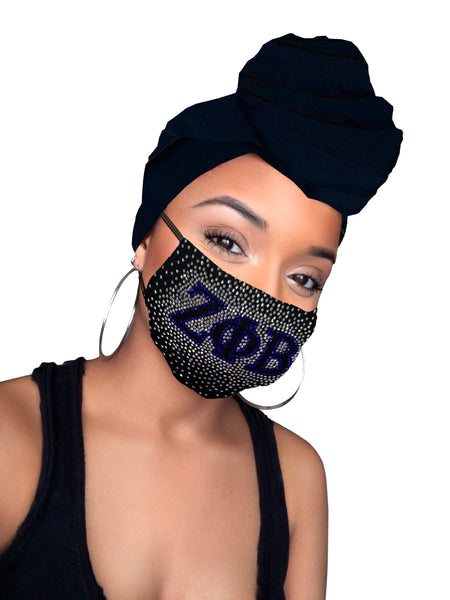 Zeta Phi Beta Face Mask & Headwrap