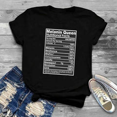 Melanin Queen Nutritional Facts Black T-Shirt