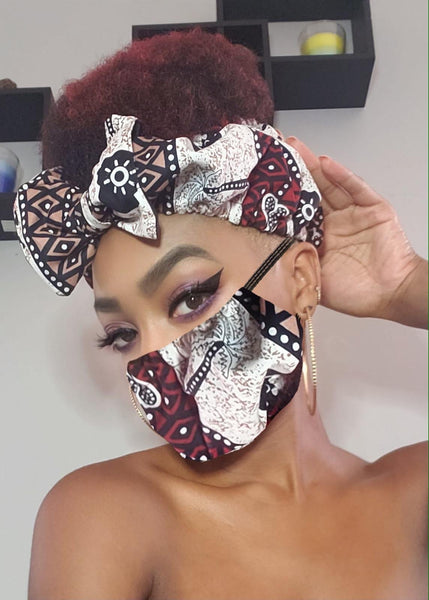 Yvette Pre Tie Satin Lined Slip On Headwrap Headband and Mask
