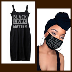 Black Lives Matter Face Mask & Headwrap & Dress - Black