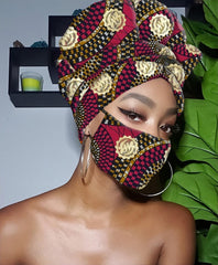 Sabra Gye Nyame Gold Print Slip On Satin Lined Headwrap and Mask