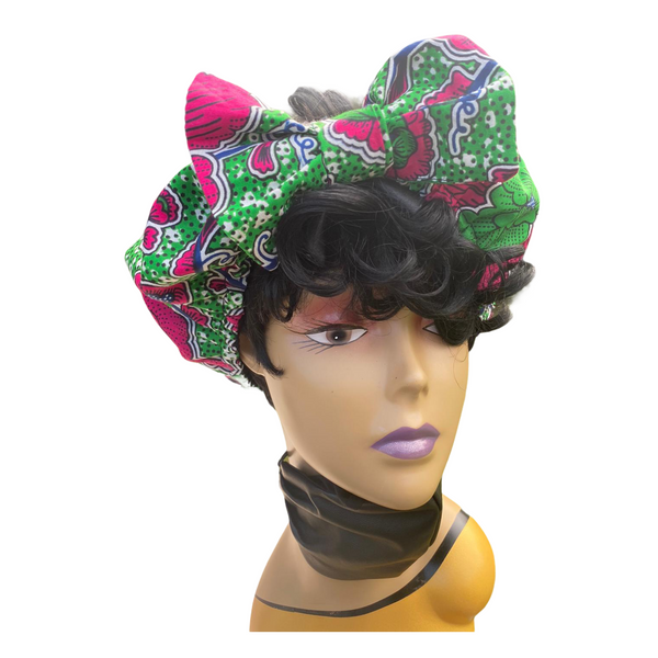 Alyssa Pre Tie Satin Lined Slip On Headwrap Headband and Mask
