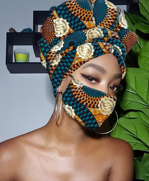 Kai Gye Nyame Gold Print Slip On Satin Lined Headwrap and Mask