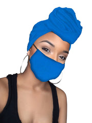 Blue Jersey Knit Stretched Fabric  Headwrap and Mask