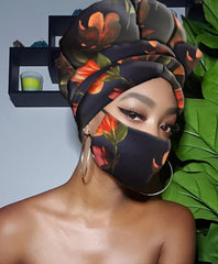 HADASSAH SLIP ON SATIN LINED HEADWRAP AND MASK