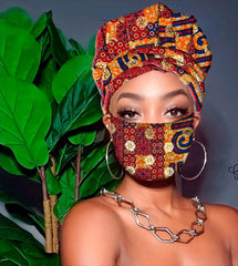 Lea Slip On Satin Lined Headwrap and Mask