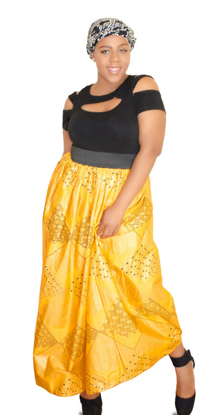 SKIN & HAIR CARE -  - Milan Yellow  African Maxi Skirt - Glamorous Chicks Cosmetics - 3