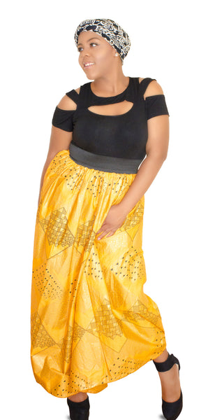 SKIN & HAIR CARE -  - Milan Yellow  African Maxi Skirt - Glamorous Chicks Cosmetics - 4