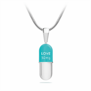50 mg of Love Capsule Pendant, Sterling Silver, Miami Blue Top by Yohan Rodrigani