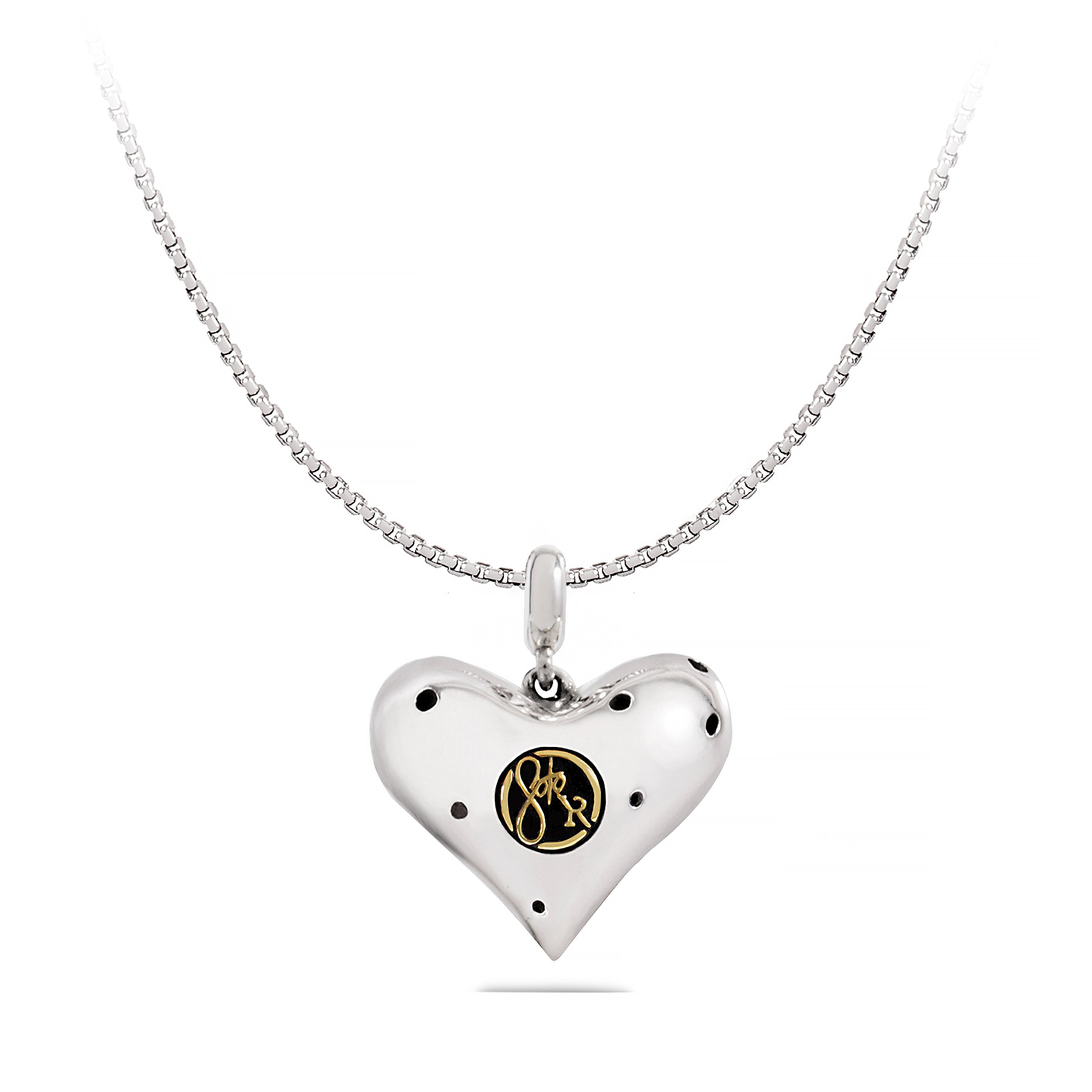 Back of Sterling Silver Heart with Round Brass Signature Tag
