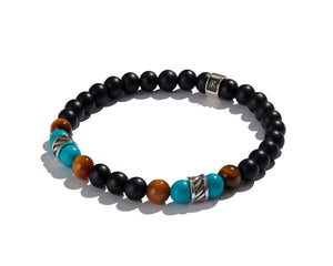 Infinita Bracelet with Forza, Black Onyx, Tiger's Eye and Turquoise
