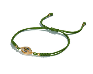 Green Macramé Cord with 18K Gold Diamond Eye Amulet