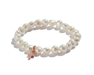 Pearl Bracelet with Mini Rose Gold Diamond Cross