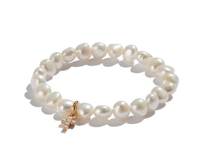 Pearl Bracelet with Mini Yellow Gold Diamond Cross