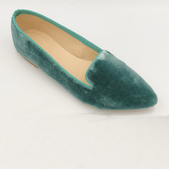 Louise flat GREEN VELVET - OUTLET