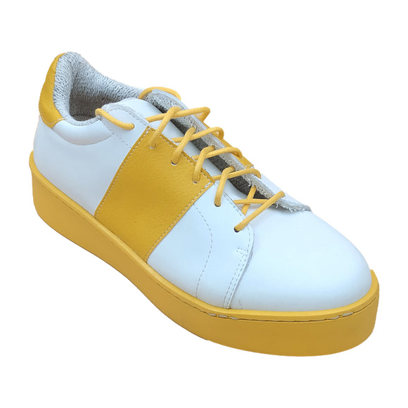Alexa Sneaker - White and Mustard - Outlet
