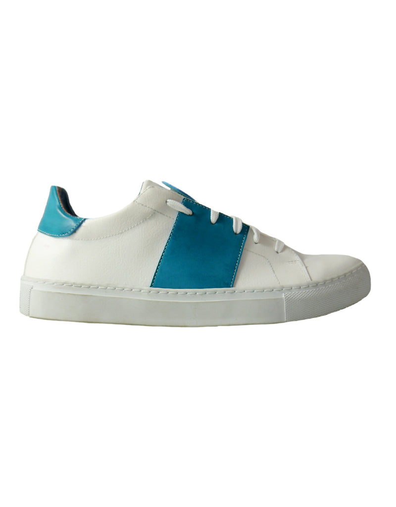 white and azure vegan sneakers bellastoria