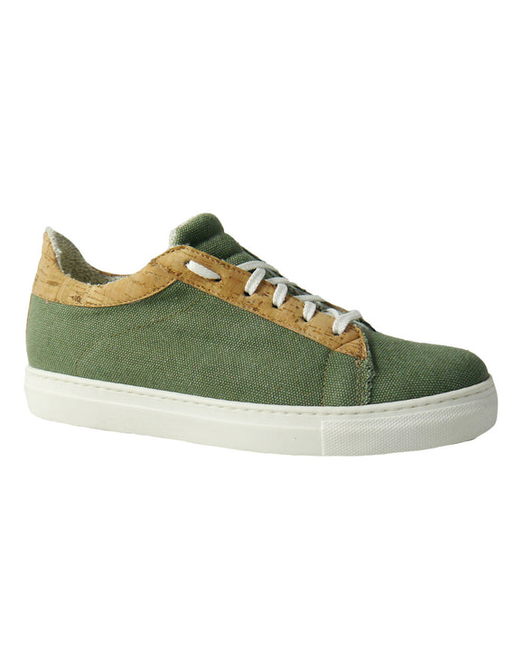 Green hemp fabric and cork vegan sneakers