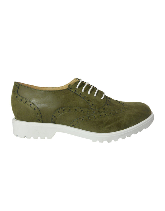 Mati Shoes - Vintage Green Microfibre White sole - outlet