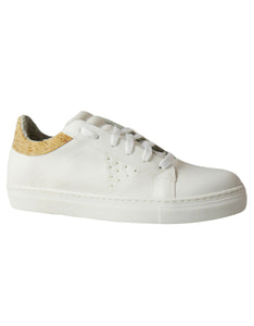 white and cork vegan sneakers