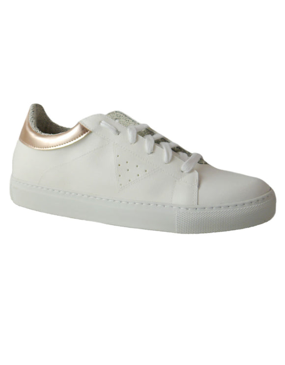 womens powder and white vegan sneakers