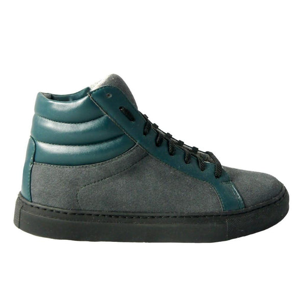 Olive men's high cut sneakers grey green