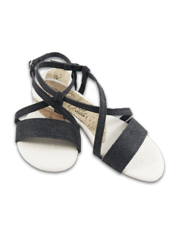 vegan black sandal hemp