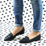 Louise flat crepe black vegan leather