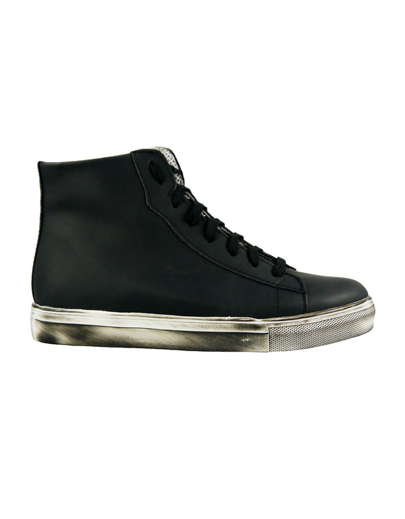 black vegan mens sneaker rubber effect