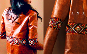 Colorful Ukrainian Hand Embroidered Leather Crop Jacket with Maltese Cross and Inspired by Eastern European Kilims