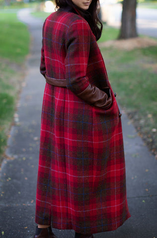 Red Tweed Plaid Double Breasted Women's Coat