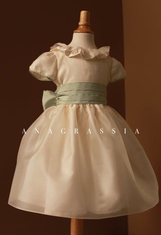 nightingale, dress, nightengale dress, silk, duchess, anagrassia, children, high end, special occasion, charmeuse, ivory, handmade, custom, big sash, pleats, collar, peter pan, puffy sleeves, binding, couture