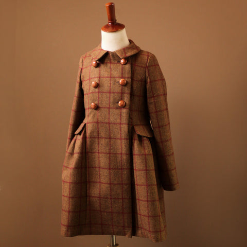 Red Tweed Plaid Coat Girls