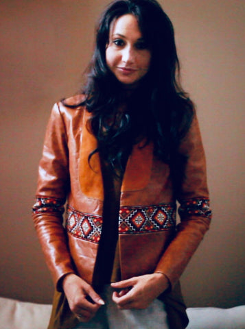 Real leather jacket hand embroidery aztec