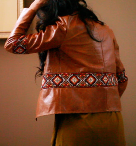 Real leather jacket hand embroidery aztec ukrainian