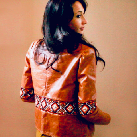 hand embroidered real leather jacket ukrainian
