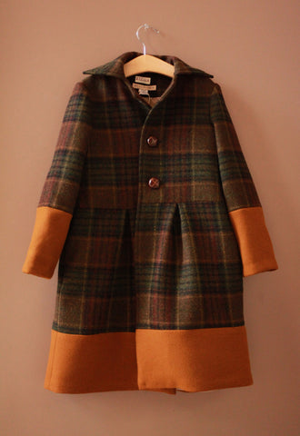 Plaid Designer Coat Girls