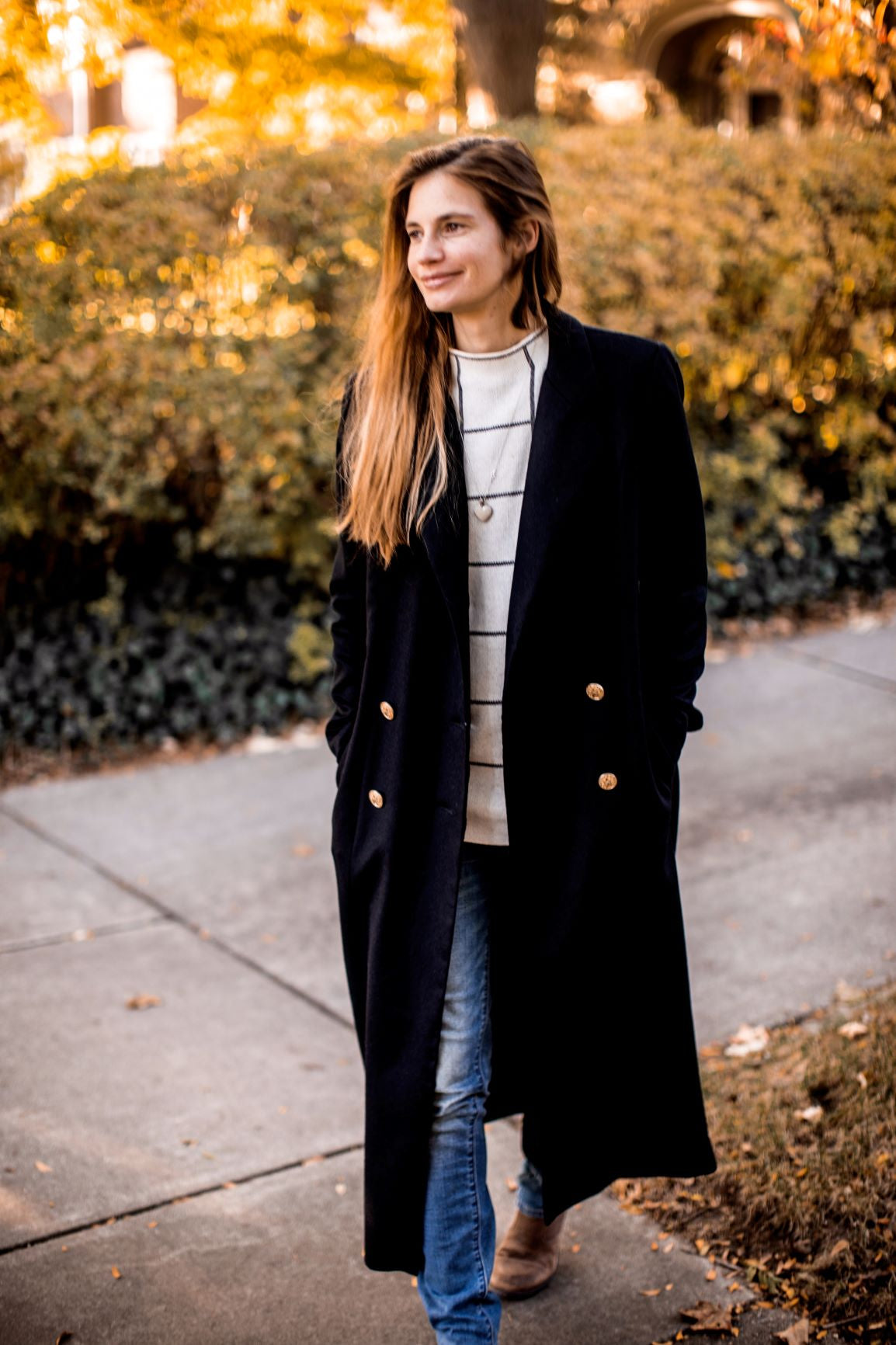 long navy wool coat
