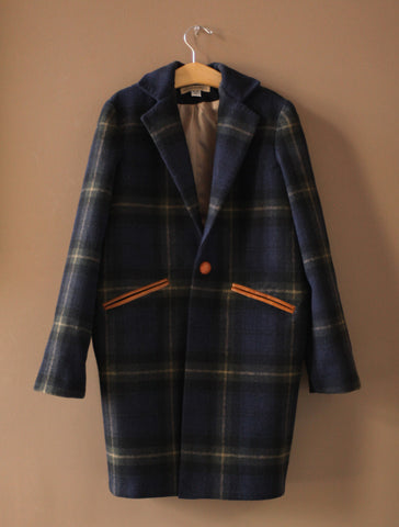 Navy Green Plaid Coat