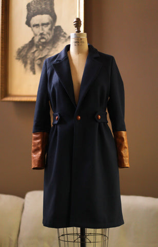 Navy Wool Coat Leather