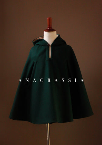 Green Wool Cape Kids