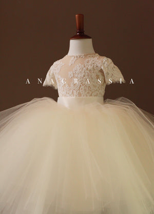 Lace Cream Flower Girl Dress