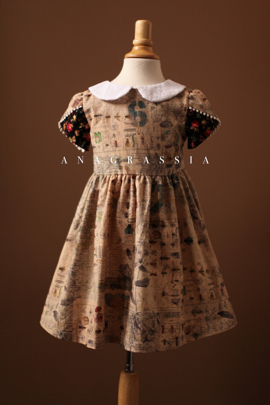 Insect Dress with Short Petal Sleeves